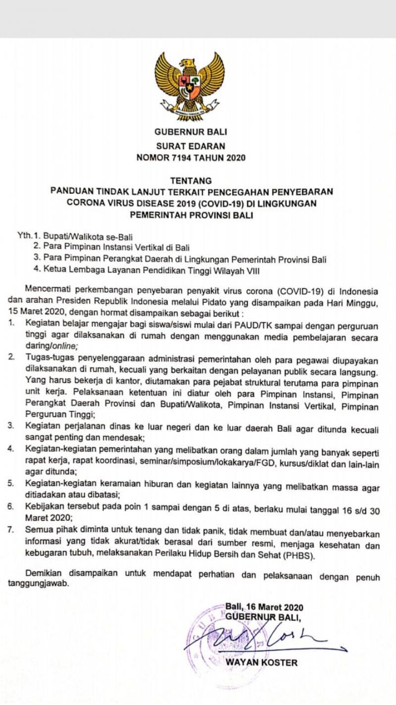 Gubernur Bali Keluarkan Panduan Cegah Penyebaran Covid 19 Di Pulau